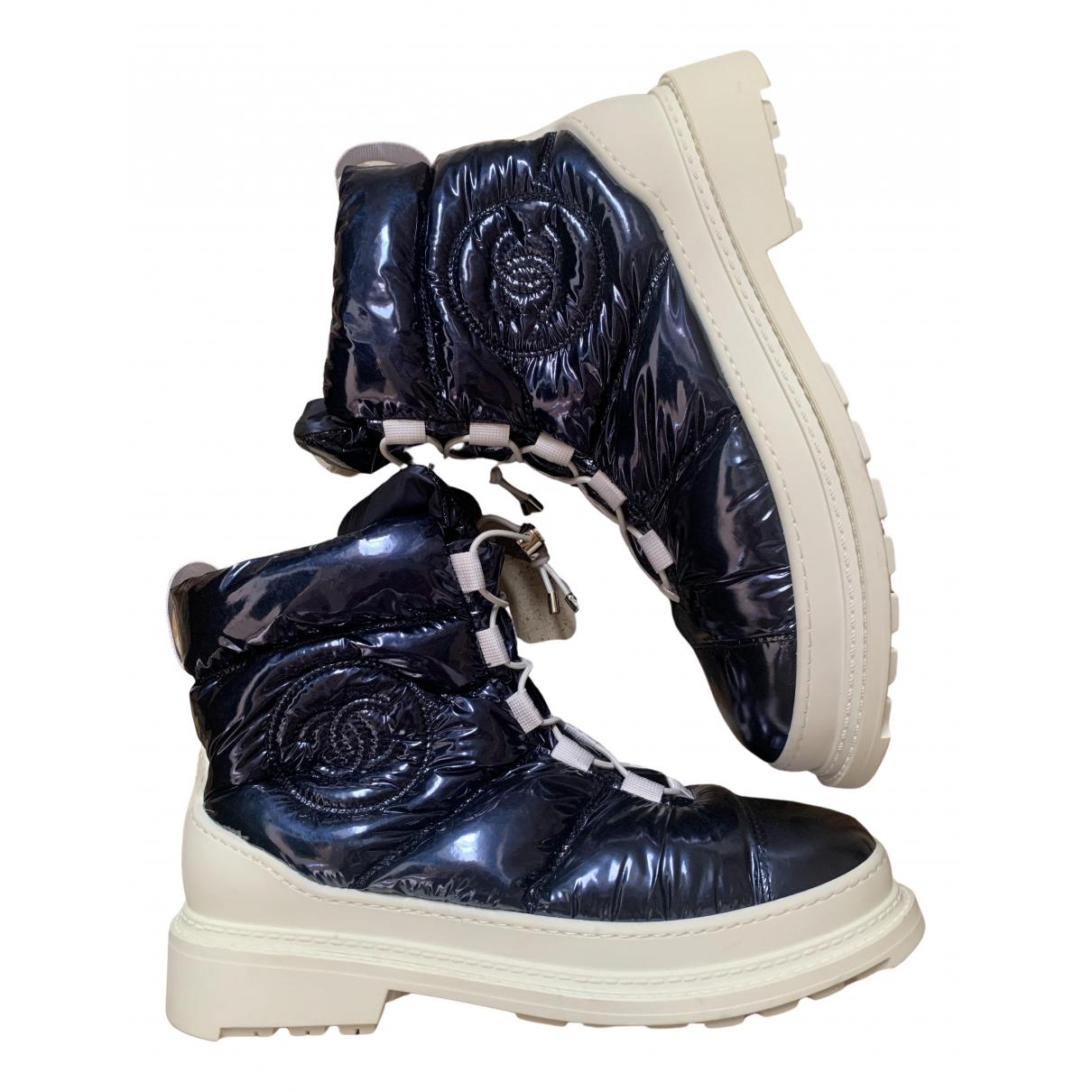 Chanel - Boots   pour femme en toile - bleu
