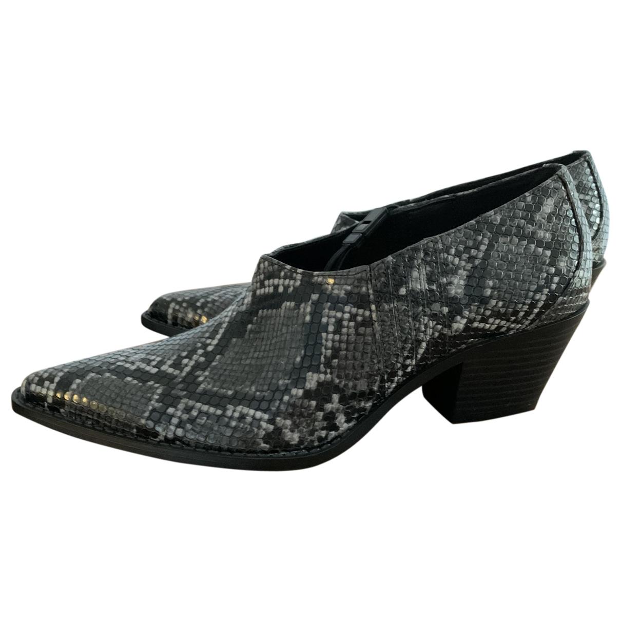 Zara - Boots   pour femme en cuir verni - gris