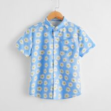 Boys Daisy Print Pocket Patched Shirt