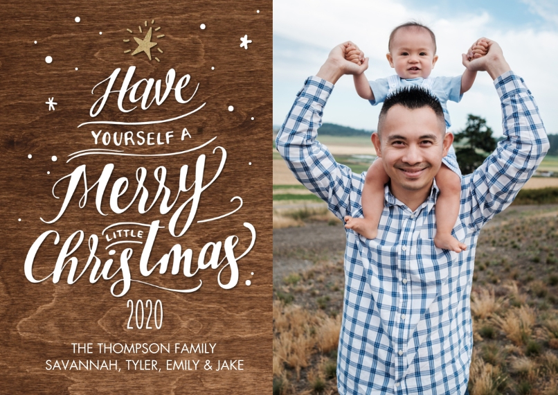 Christmas Photo Cards Flat Glossy Photo Paper Cards with Envelopes, 5x7, Card & Stationery -2020 Script Tree by Tumbalina