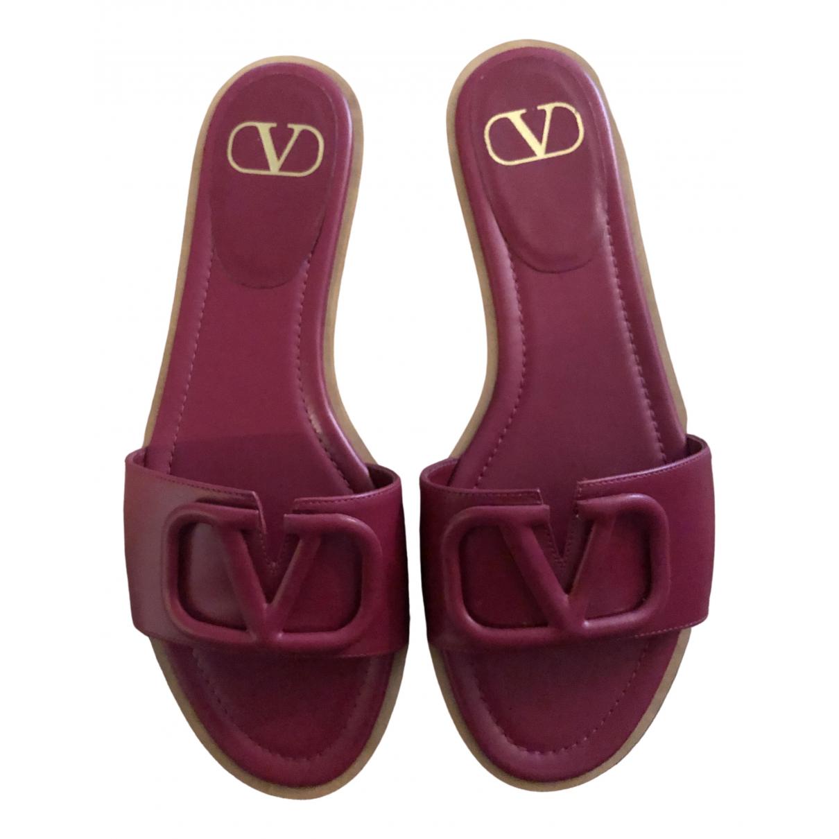 Valentino Garavani - Sandales VLogo pour femme en cuir - rouge