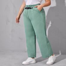 Pantalones Extra Grande Bolsillo Liso Elegante