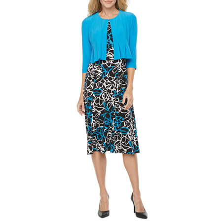 Danny & Nicole 3/4 Sleeve Jacket Dress, Medium , Blue