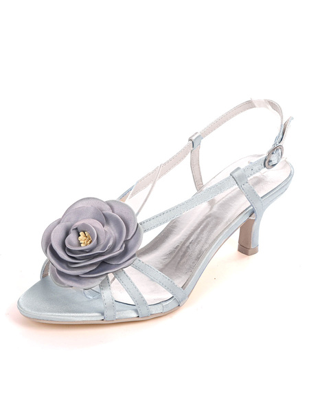Milanoo Ivory Wedding Shoes Satin Open Toe Flowers Kitten Heel 2.4 Bridal Shoes