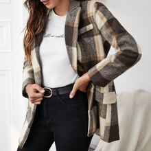 Lapel Collar Plaid Double Breasted Blazer