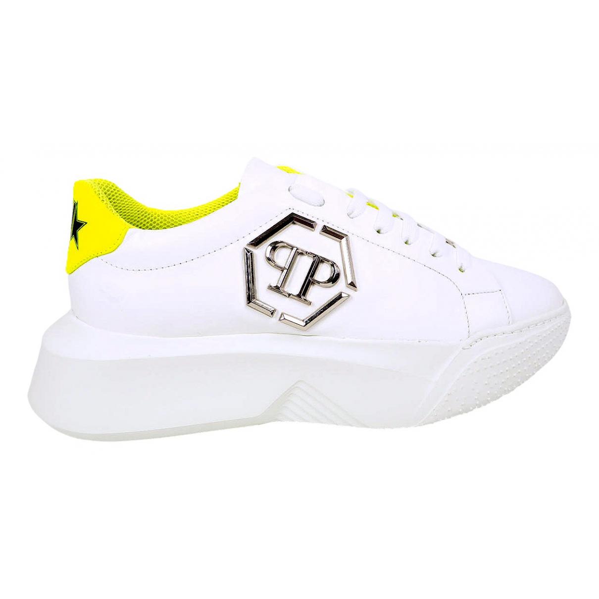 Philipp Plein - Baskets   pour homme en cuir - blanc