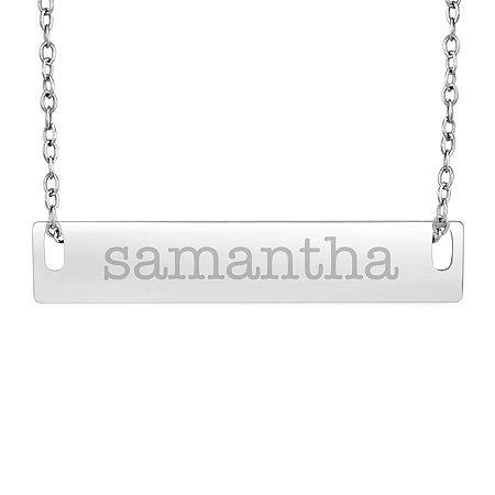 Personalized Sterling Silver Name Bar Necklace, One Size , No Color Family