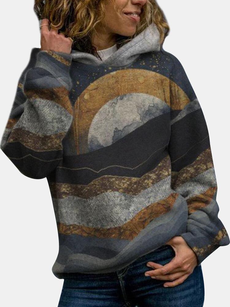 Landscape Print Hooded Casual Long Sleeve Hoodie For Women
