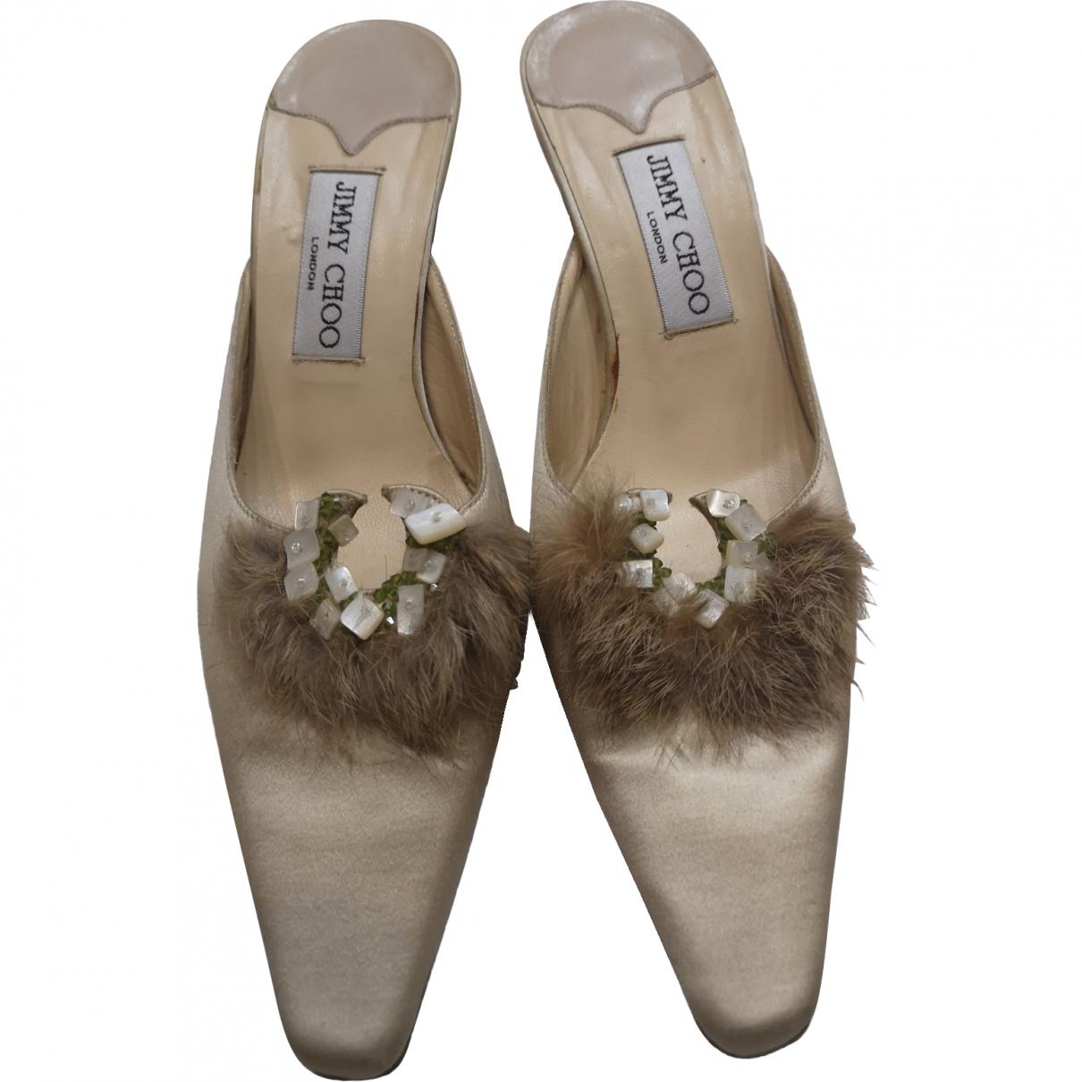 Jimmy Choo \N Beige Cloth Mules & Clogs for Women 37 EU