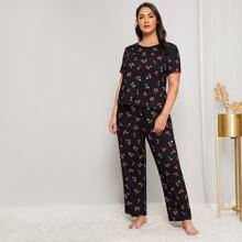 Schlafanzug Set in Ubergrosse mit Kirsche Muster