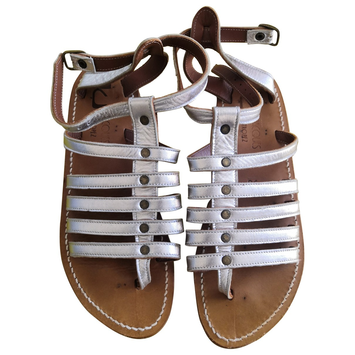 K Jacques \N Silver Leather Sandals for Women 38 EU