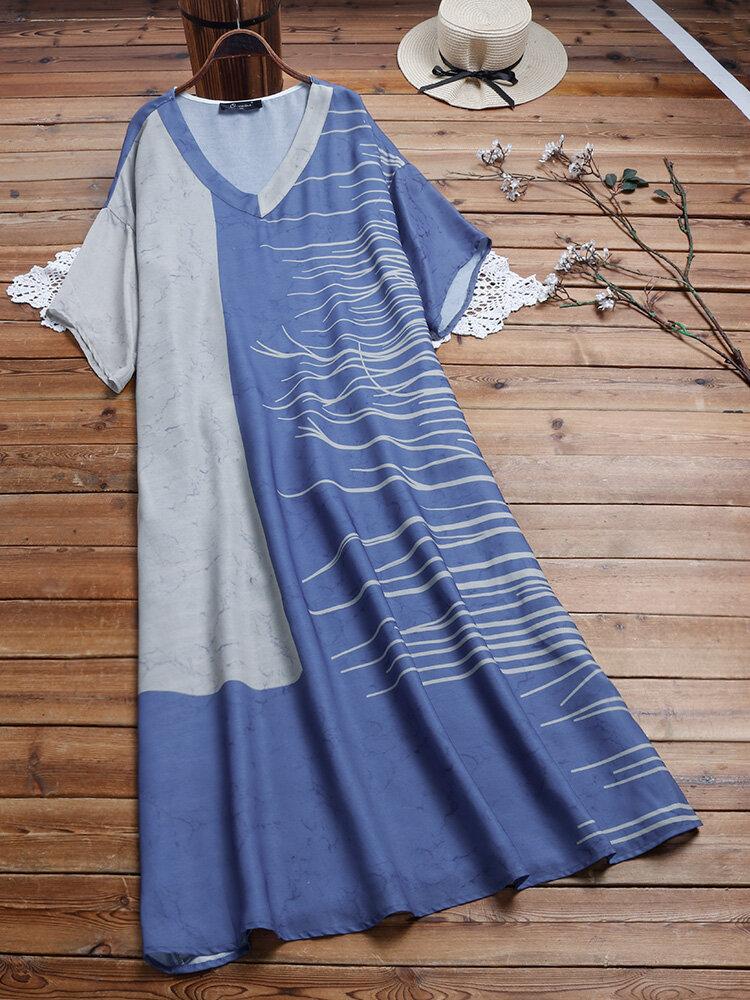 Casual Print Patchwork V-neck Plus Size Dress
