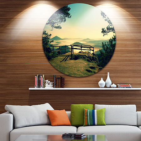 Design Art Full Moon Autumn Midnight Landscape Photo Circle Metal Wall Art, One Size , Green