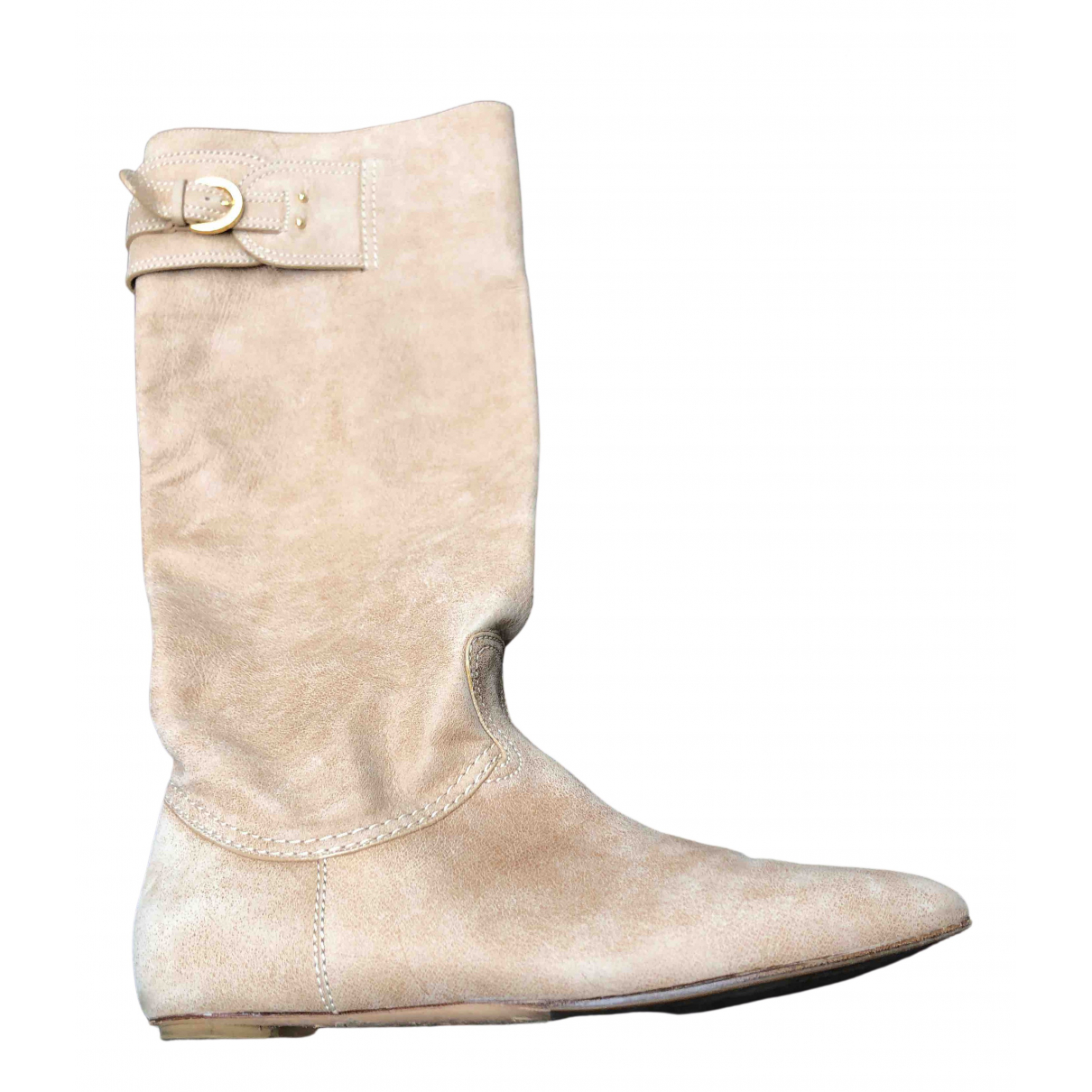 Casadei \N Beige Suede Boots for Women 37.5 EU