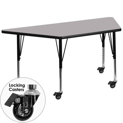 XU-A3060-TRAP-GY-T-P-CAS-GG Mobile 30''W x 60''L Trapezoid Activity Table with Grey Thermal Fused Laminate Top and Height Adjustable Pre-School
