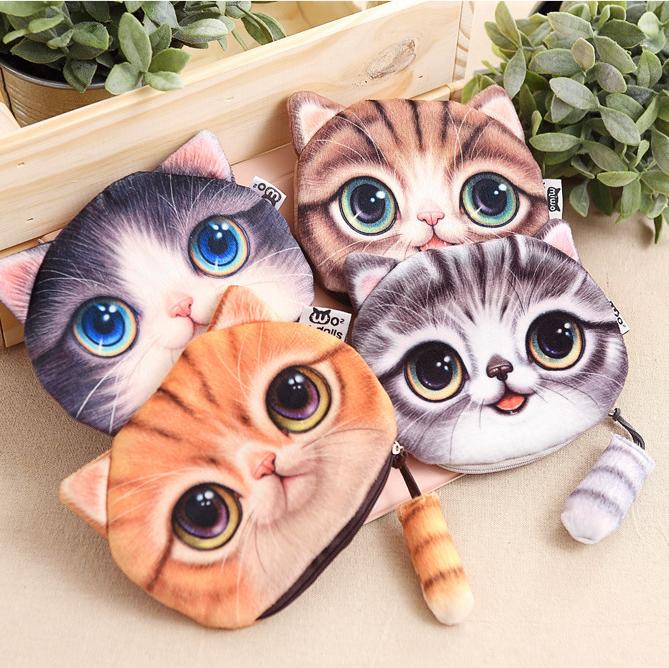 Cute Coin Purse Creative Gift 3D Cat Cloth Cartoon Coin Bag