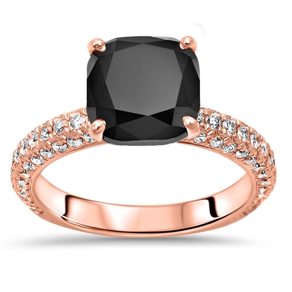 14k Rose Gold 3.45ct Cushion Cut Black Diamond Pave Engagement Ring (5.5)