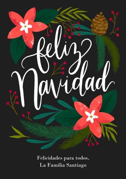 Tarjetas de Navidad Flat Glossy Photo Paper Cards with Envelopes, 5x7, Card & Stationery -Floral Navidad