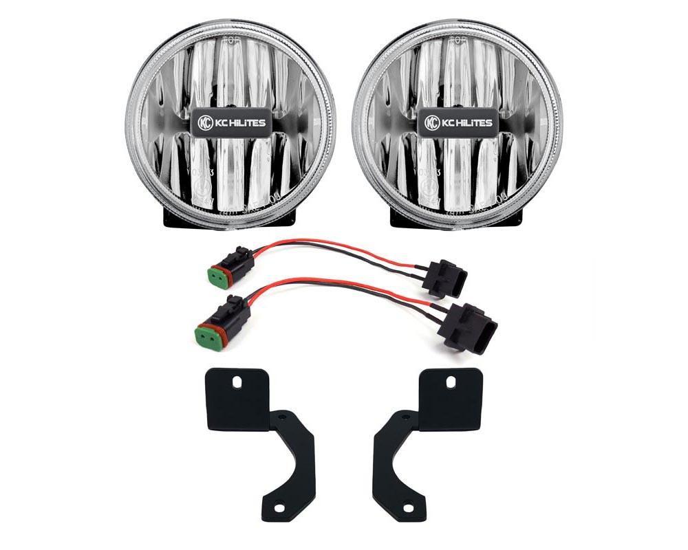KC Hilites 504 Gravity LED G4 Clear Fog Lights Jeep Wrangler JL | Gladiator JT Rubicon Steel Bumper