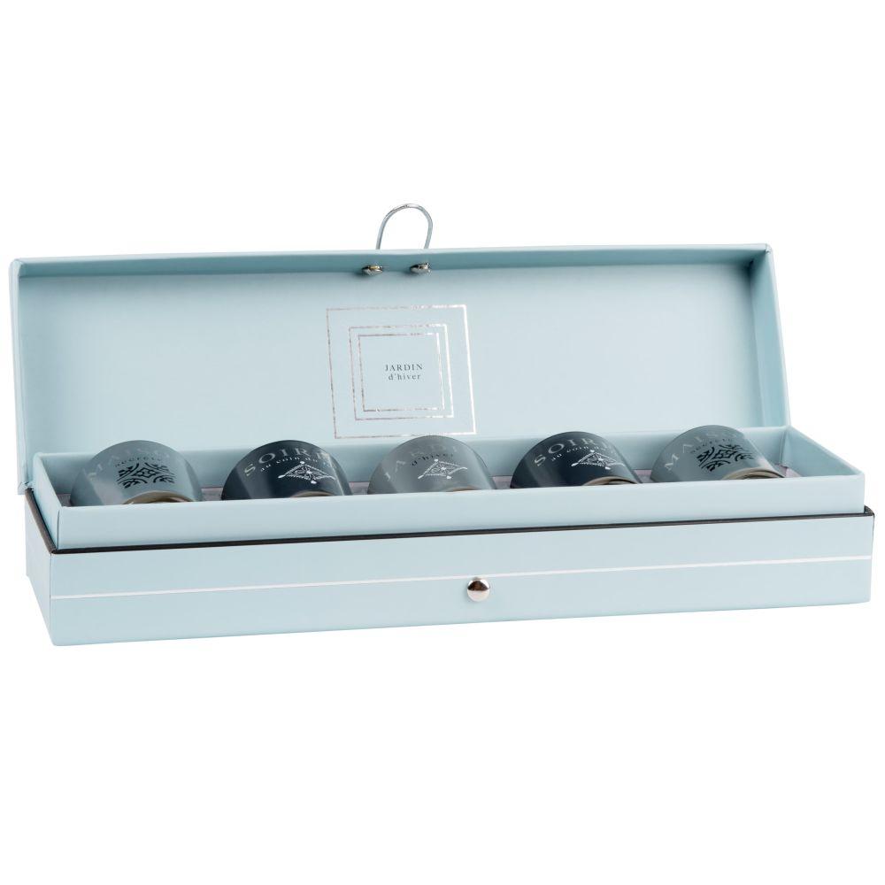 Set mit 5 Mini-Duftkerzen im Glasbehaelter, blau, gruen und grau