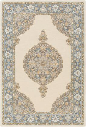 Viva VVA-1007 8 x 10 Rectangle Traditional Rugs in Medium Gray  Khaki  Tan  Sky