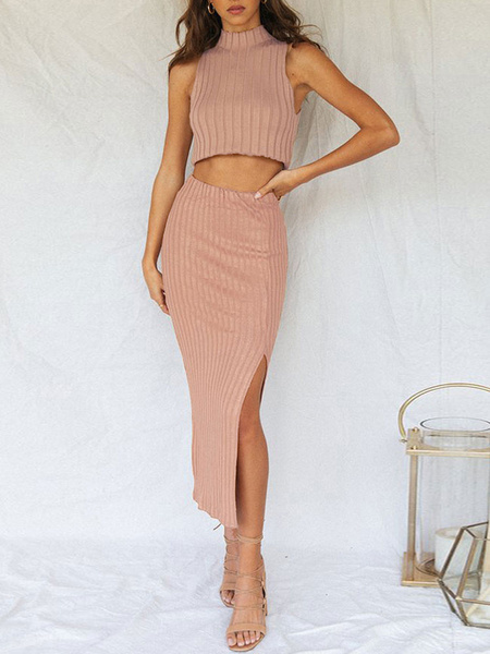 Milanoo Two Piece Sets Pink High Collar Casual Sleeveless Sweater Women Outfit