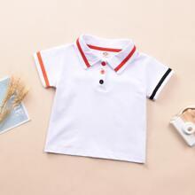 Toddler Boys Contrast Tape Polo Shirt