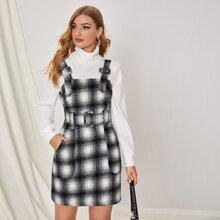 Kleid mit Karo Muster, Taschen, Schnalle und Riemen