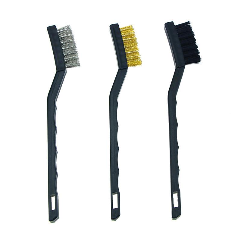 3Pcs Anti-static Metal Rust Clean Tools Mini Wire Brush Set Steel Brass Nylon Brush Cleaning Polishing Detail Home Kitch