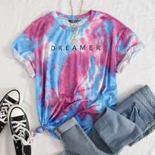 Roll Tab Sleeve Letter Graphic Tie Dye Top