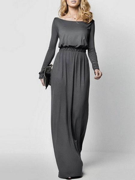 Milanoo Green Maxi Dress Bateau Neckline Long Sleeve Elastic Waist Pleated Cotton Long Dress