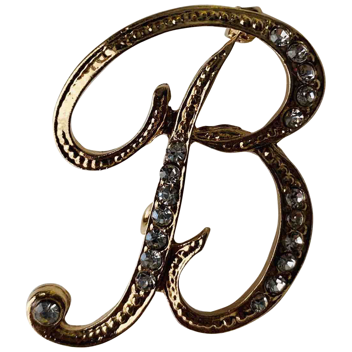 Non Signe / Unsigned Motifs Lettres Brosche in  Gold Metall