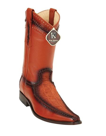 Men's King Cognac Embroidered European Toe Genuine Elephant Skin Boots