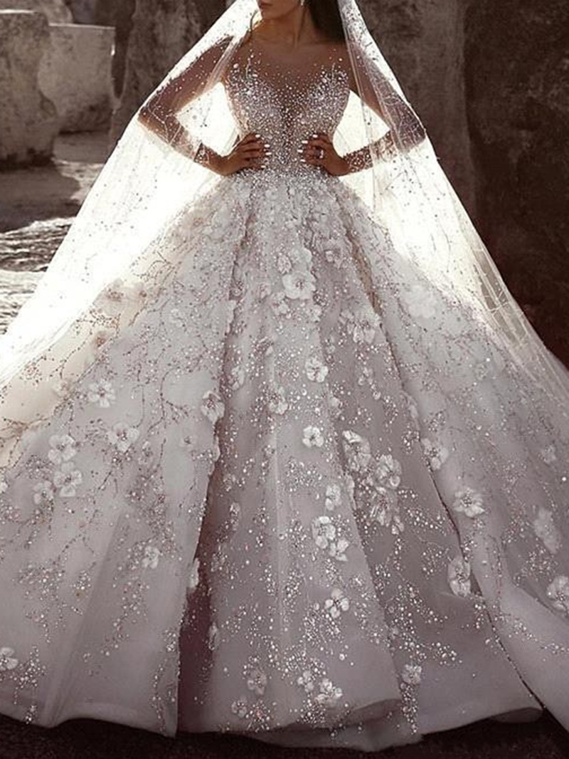 Ericdress Appliques Ball Gown Long Sleeves Luxury Wedding Dress