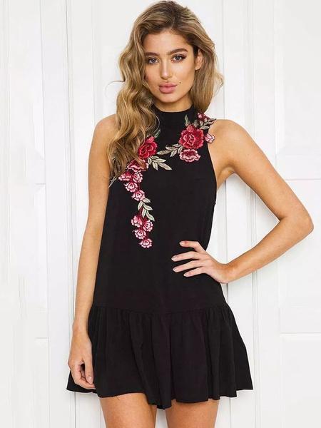 Milanoo White Summer Dresses Embroidered Rose Keyhole Short Dress For Women