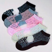 5pairs Floral Lace Mesh Socks