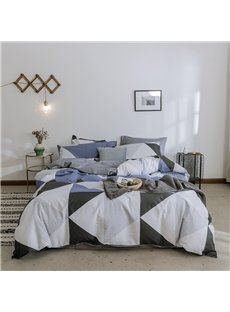 Classic Geometric Shapes Cotton Bedding Sets Blue and Grey 4-Piece Durable Breathable Duvet Cover Set Full/Queen Size