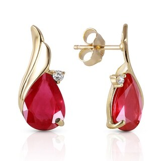 14K Solid Gold Studs Earrings Natural Diamond & Ruby Gemstone (Yellow)