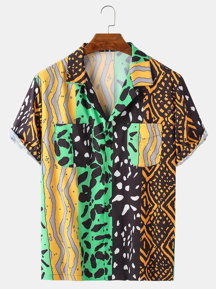 Mens Patchwork Mixed Print Revere Collar Designer Short Sleeve Shirts