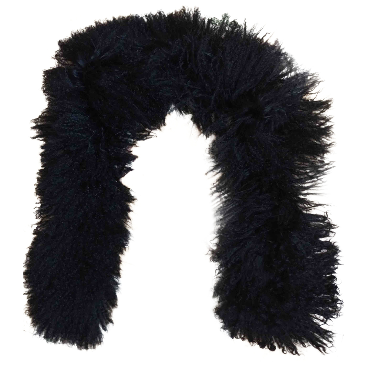 Non Signé / Unsigned \N Black Mongolian Lamb scarf for Women \N