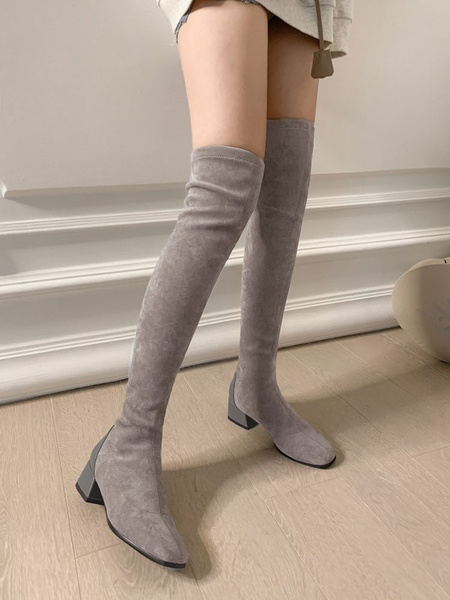 Milanoo Women Over The Knee Boots Elastic Fabric Light Gray Square Toe Thigh High Boots