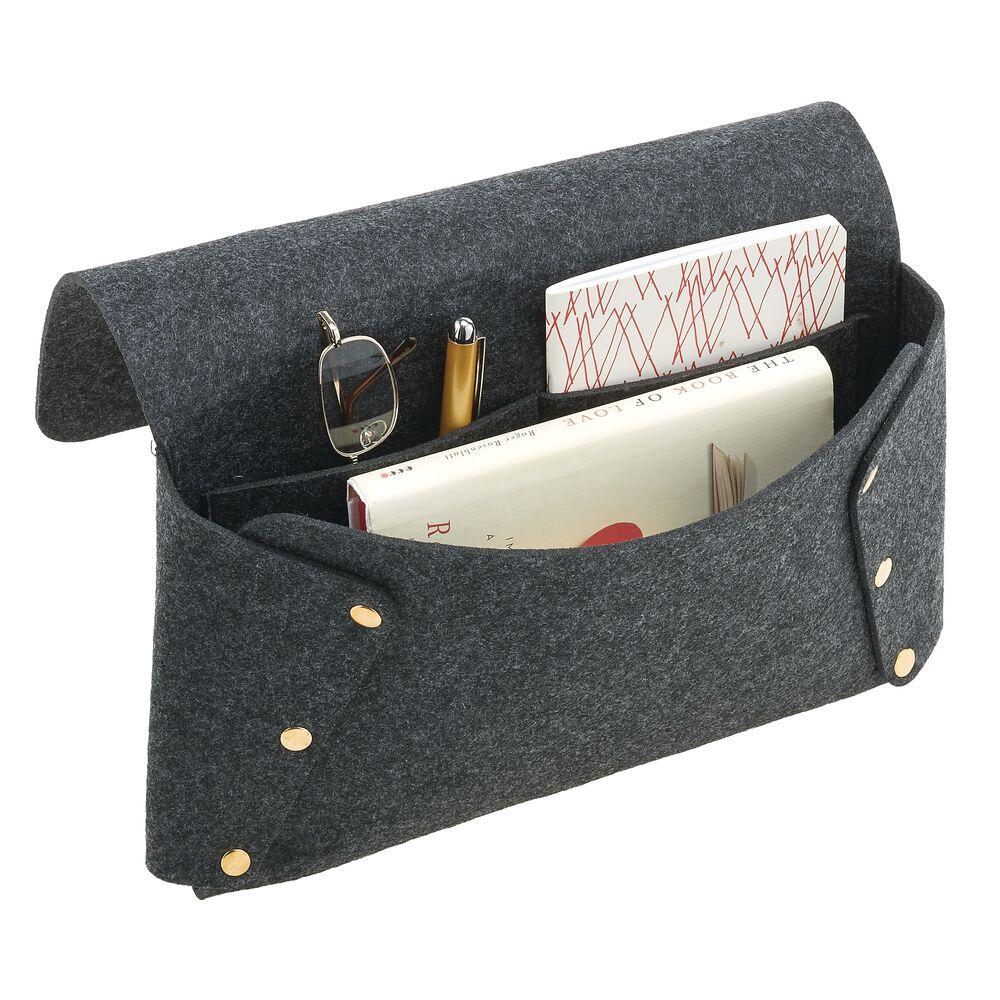 Felt Bedside Pocket Organizer with Rivets in Dark Gray/Gold, 12.6