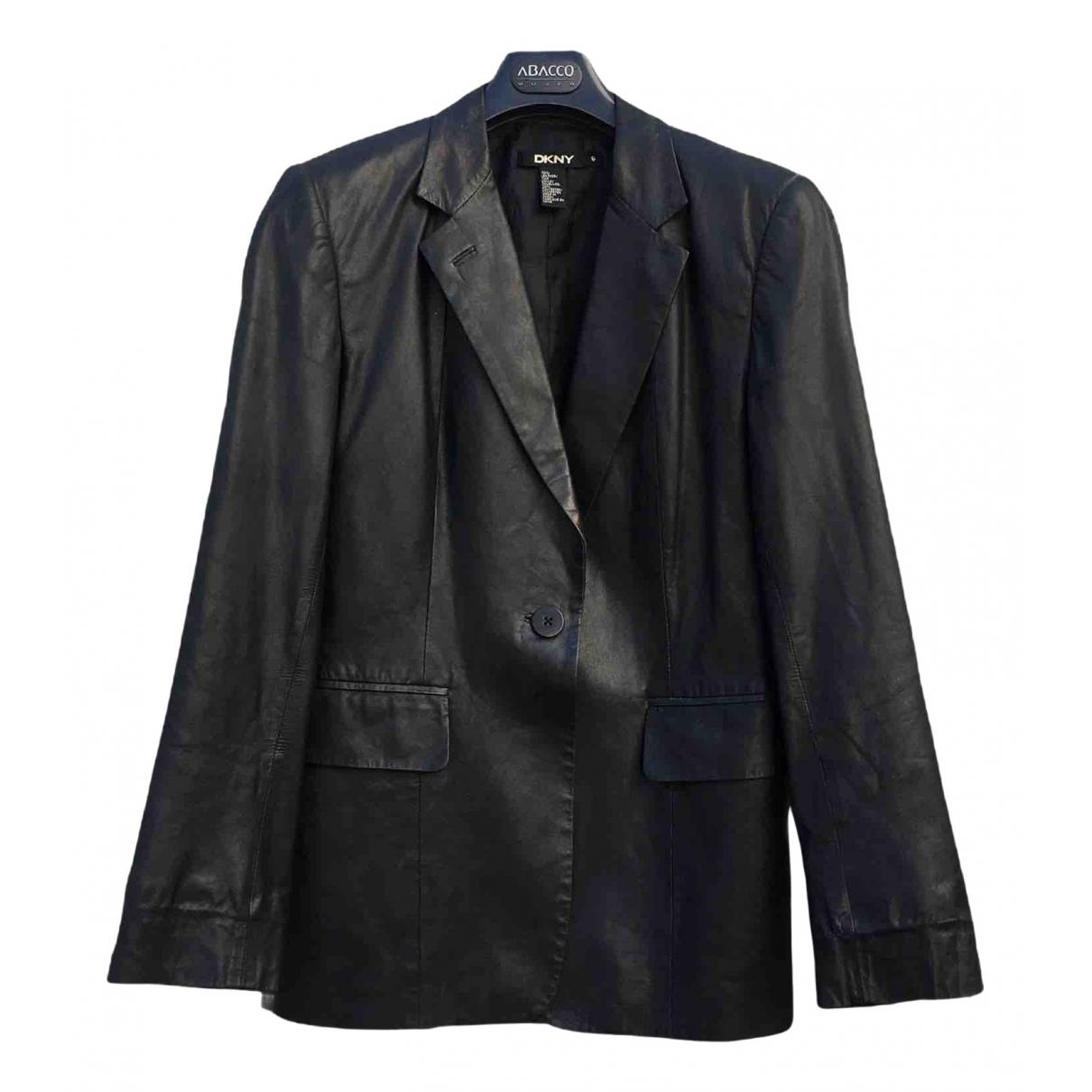 Dkny - Veste   pour femme en cuir - noir
