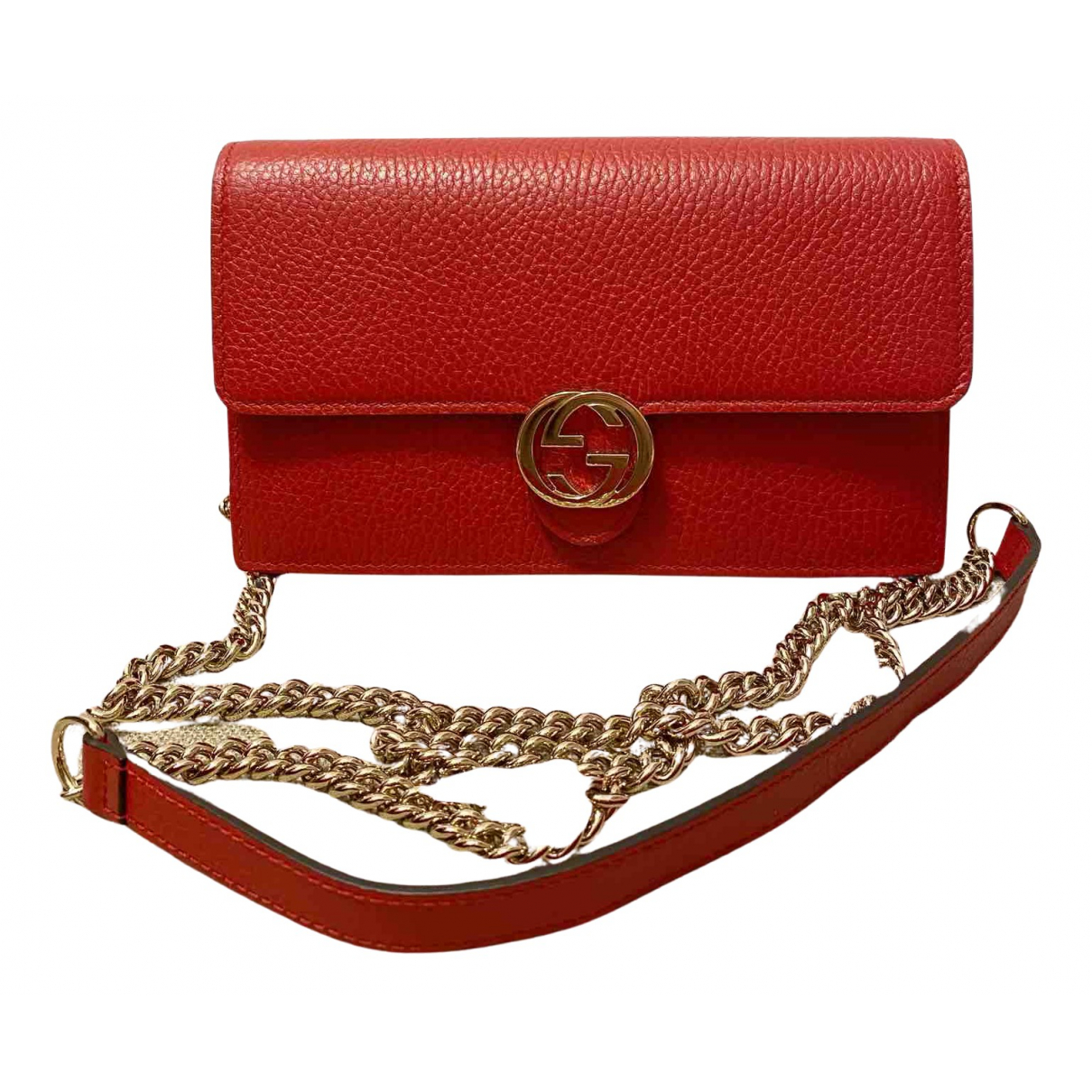 Gucci - Sac a main Interlocking pour femme en cuir - rouge