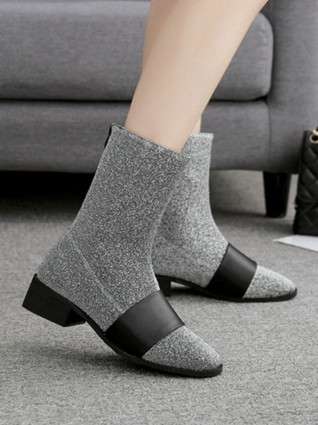 Milanoo Women Ankle Boots Elastic Black Round Toe Flat Short Booties