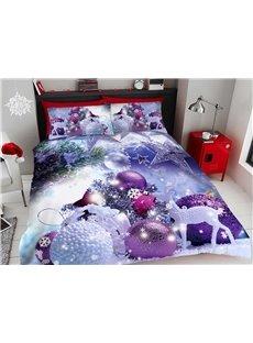 Purple Christmas Decorative Balls 3D Printed 4-Piece Polyester Bedding Sets/Duvet Covers