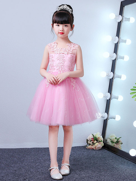 Milanoo Flower Girl Dresses Jewel Neck Sleeveless LaceEmbroidered Knee Length Social Kids Party Dresses