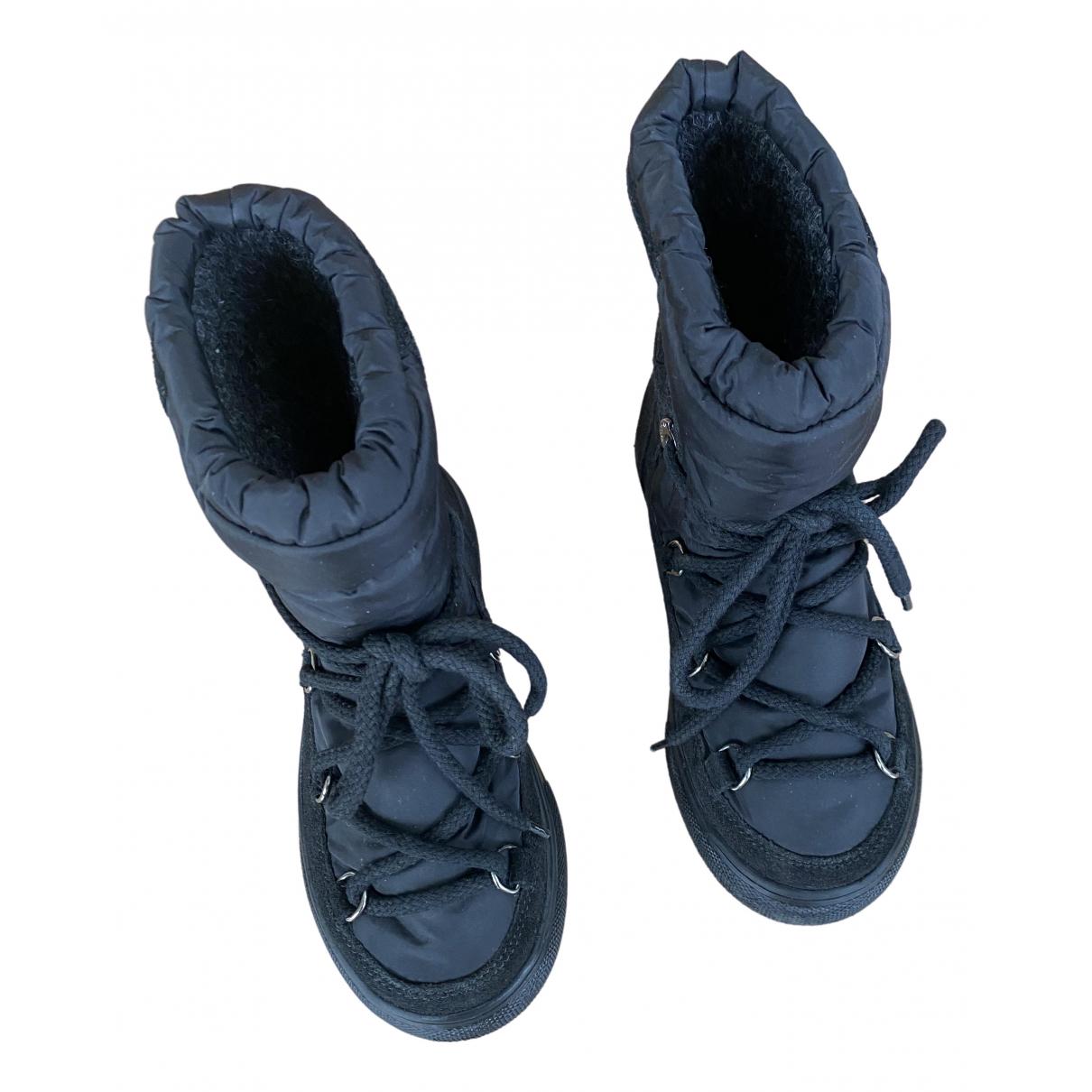 Moncler - Bottes.Bottines   pour enfant en cuir - noir