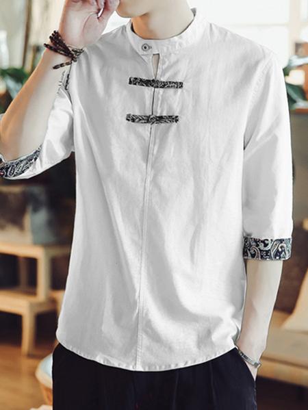 Yoins INCERUN Men Tribal Print Button Front Stand Collar Shirt