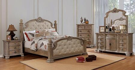 Montgomery CM7800Q-BED-NSCHDRMR 5-Piece Bedroom Set with Queen Size Bed  Nightstand  Chest  Dresser and Mirror in Rustic